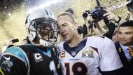 Ein klarer Sieger im Quarterback-Duell: Peyton Manning (rechts) holte den Titel, Cam Newton ging leer aus.