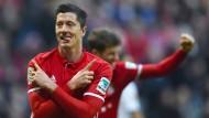 Auch in Darmstadt setzen die Bayern auf Torjäger Lewandowski.