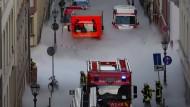 Weiße Weihnacht mal anders: Die Mainzer Innenstadt nach einem Gasaustritt am Dienstagnachmittag