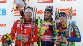 Martin Fourcade (Mitte) siegte vor Emil Hegle Svendsen (links) und Carl Johan Bergman
