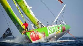 """""""Der Mast von Samantha Davies hatte schon zwei 'Round the World Races' hinter sich und war somit am"""