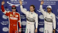 Der Erste steht in der Mitte: Rosberg vor Hamilton (rechts) und Räikkönen.