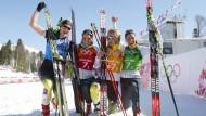 Gemeinsam waren sie für Olympia-Bronze gut, und auch einzeln ist mit ihnen zu rechnen: Skilangläuferinnen Denise Herrmann, Nicole Fessel, Claudia Nystad und Stefanie Böhler