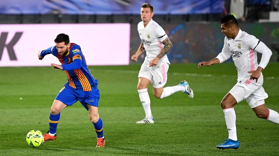 Lionel Messi, Toni Kroos und Casemiro im April 2021