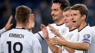 Souveräne Sieger: Müller, Kroos und Hummels (v.r.) haben Grund zum Grinsen