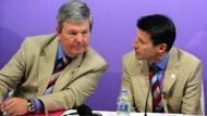 Betroffenheit in der britischen Delegation: Keith Mills und Sebastian Coe