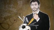 Gemalte Anklage: Ein Künstler wirft Juventus-Präsident Andrea Agnelli zerstörerische Absichten vor.