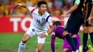 Siegtorschütze gegen Australien: Lee Jeonghyeop startet den Jubellauf