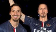 Original und Abbild: Zlatan Ibrahimovic mit seiner Wachsfigur