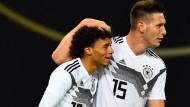 In den kommenden Spielen in der Nations League wohl wieder gemeinsam auf dem Feld: Niklas Süle (rechts) und Leroy Sané, hier 2018