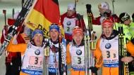 Das Siegerteam: Erik Lesser, Simon Schempp, Daniel Böhm und Arnd Pfeiffer (v.l.n.r.)