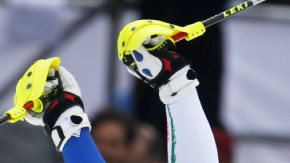 Italy''s Razzoli celebrates after competing in the second run of the men''s alpine skiing slalom event at the Vancouver 2010 Winter Olympics in Whistler
