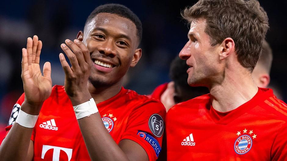 Beste Laune bei den Bayern: David Alaba (links) und Thomas Müller