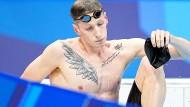 Das geht ja schlecht los: Florian Wellbrock wird über 800 Meter Freistil Vierter.