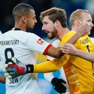 Sicherer Rückhalt: Eintracht-Torhüter Kevin Trapp (gelbes Trikot) in Sinsheim