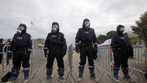 """French Police forces take part in a mock terrorist attack drill at a """"fan zone"""" inside the National Police school in Nimes"""