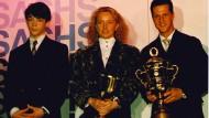 Alte Zeiten: Der 14 Jahre alte Kart-Weltmeister Andre Lotterer (links) mit Damen-Rallye-Weltmeisterin Isolde Holderied und Formel 1-Weltmeister Michael Schumacher