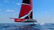 Zwei Foils – aber nur ein Rumpf: Die Computer-Simulation zeigt, wie die AC75-Yachten beim nächsten America's Cup über das Wasser fliegen sollen.