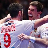 Nicht aufzuhalten bei der Handball-WM: das spanische Nationalteam um Raul Entrerrios (links) und Viran Morros