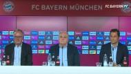 Die drei Medienkritiker aus München: Karl-Heinz Rummenigge (links), Uli Hoeneß und Hasan Salihamidzic (rechts) bei der denkwürdigen Pressekonferenz.
