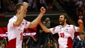 Geschafft: Wlazly (l.) und Mika jubeln über den Sieg im WM-Finale über Brasilien