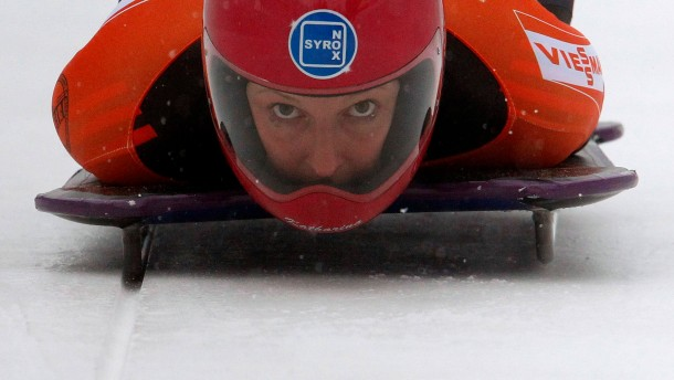 Germany's Heinz starts during the first run of the women's skeleton race at the FIBT Bobsleigh and Skeleton World Cup tournament in St. Moritz