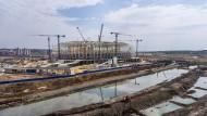 Vor der großen Show: WM-Baustelle in Saransk im Mai 2017