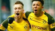 All das Glück muss raus! Marco Reus und Jadon Sancho jubeln über den Siegtreffer in der Nachspielzeit.