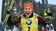 Konnte sich freuen: Laura Dahlmeier holte erstmals die Gesamtwertung im Biathlon.