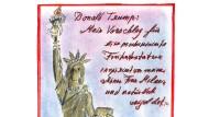 """Der güldene Schopf ist unverkennbar, ein etwas schräges Markenzeichen, das sich allzu sehr für die satirische Überspitzung eignet. Karl Lagerfeld hat daher in seiner Zeichnung das Klischee nicht zum Hauptthema gemacht. Als Modeschöpfer sieht er ohnehin hinter jedem bedeutenden Mann eine starke Frau. Im Fall von Melania Trump verdankt sich die neue Rolle allerdings der Tatkraft des Ehemanns. Der Bauunternehmer und künftige amerikanische Präsident nimmt sich das wichtigste Symbol für die Freiheit Amerikas vor. Und weil bei Donald Trump einfach alles Gold ist, muss seine Frau Melania in diesen Umhang schlüpfen, der ein paar Nummern kleiner ausfällt als das den römischen Göttinnen entliehene Gewand der wahren Freiheitsstatue. """"Die Statue, wie sie ist, erinnert ihn zu sehr an Hillary"""", sagt Lagerfeld sarkastisch. Und weil für die Einwanderin Melania (und ihre Vorgängerin Ivana) die Vereinigten Staaten die Freiheit bedeuteten, ist die Libertas auch von symbolischem Wert. Im Jahr 1885 übrigens, als Trumps Großvater Friedrich als Einwanderer nach New York kam, fuhr auch das französische Schiff Isère mit den zerlegten Einzelteilen der Statue in den Hafen ein. (kai.)"""