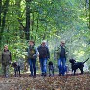 Trüffelsuche mit Sabine Hörnicke (zweite von links): Während des praktischen Übungsteils im Waldgebiet sollen die Tiere vorher ausgelegte Pilze finden.