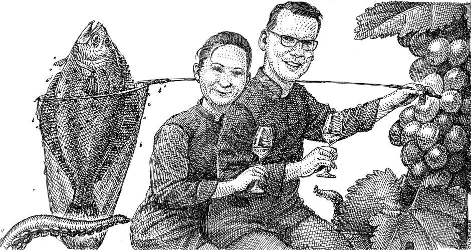 """Karikatur - Bettina Kissling-Lange und ihr Mann Silvio Lange aus der """"Alten Pfarrey"""" in Neuleiningen."""