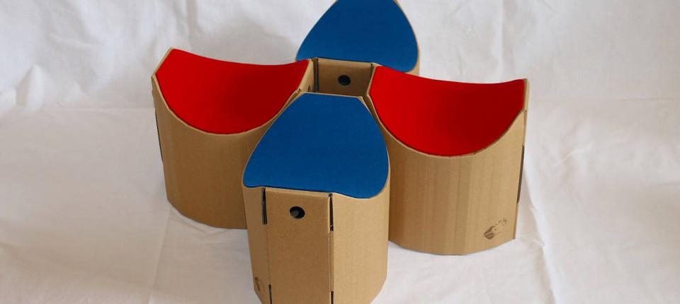 wie ein ergonomischer hocker aus pappe die haltung verbessert. Black Bedroom Furniture Sets. Home Design Ideas