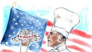Präsident oder Koch? Bei Lagerfeld macht Obama immer eine gute Figur.