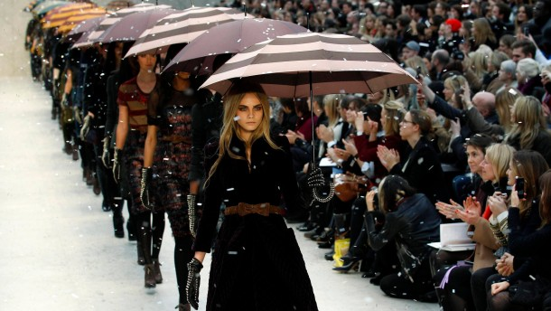 Models present creations at the Burberry Prorsum 2012 Autumn/Winter collection show during London Fashion Week