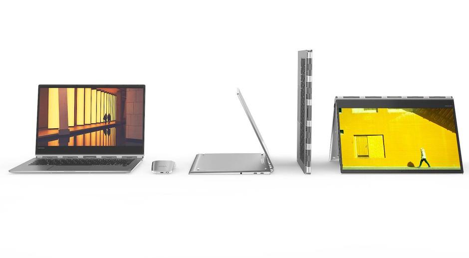Man kann das Notebook wie ein Dach aufstellen, etwa für das Ansehen von Videos und Präsentationen, oder die Anzeige komplett nach hinten klappen und in den Tablet-Modus von Windows 10 umschalten.