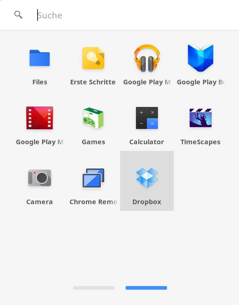 """""""Web-Apps"""" und """"Apps"""" sind in einem Menü gesammelt"""