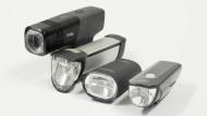Kompaktscheinwerfer: Knog Blinder Beam 170, B+M Ixon Core, Litecco Highlux 30 und Cateye G-Volt25 RC