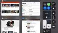 Perfekt wie am PC: In kleinen Fenstern werden alle geöffneten Apps mitsamt ihrer Inhalte säuberlich nebeneinander und untereinander gezeigt.