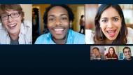Alle Teilnehmer auf einen Blick: Skype ist geradezu der Klassiker unter den Videokonferenzsystemen, es läuft auf Smartphone und PC