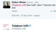 Volker Weber suchte Rat beim Twitteracount @telekom_hilft