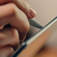 Schreiben auf dem Bildschirm.