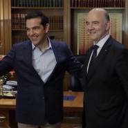 Sichtlich zufrieden: Griechenlands Regierungschef Alexis Tsipras hat heue EU-Währungskommissar Pierre Moscovici zu Besuch.