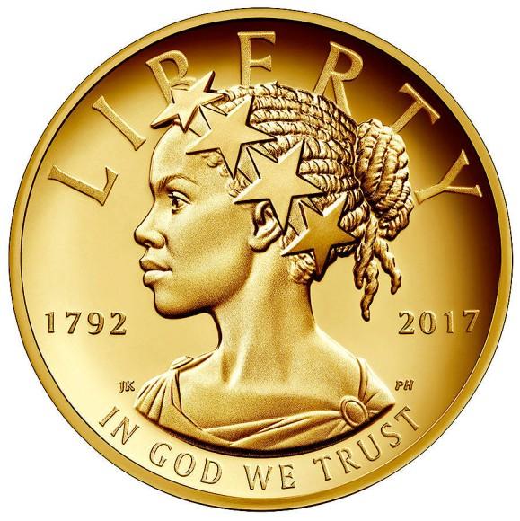 Bild Zu 100 Dollar Gedenkmünze Die Freiheitsstatue Wird Schwarz