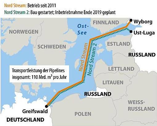 Der Verlauf der beiden Ostsee-Pipelines Nord Stream und Nord Stream 2 (in Bau).