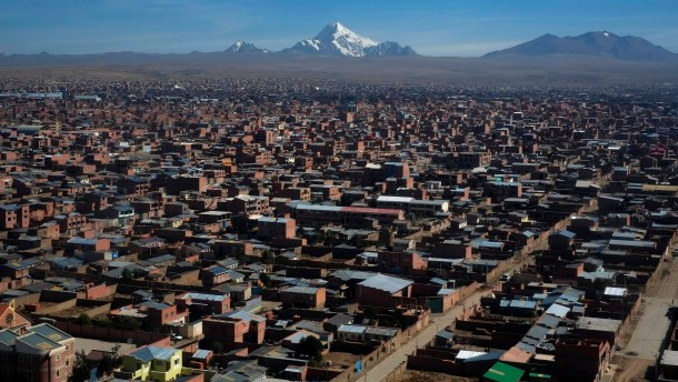 An aerial view of El Alto city in the outskirts of La Paz