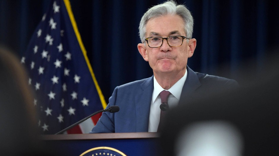 Der Fed-Chef Jerome Powell auf einer Konferenz in Washington.