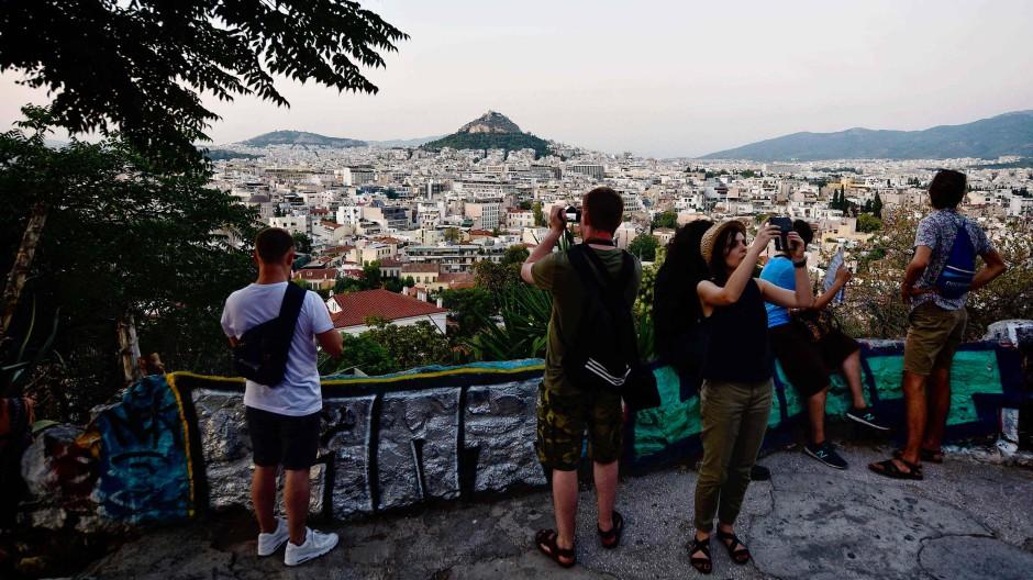 Touristen in Athen: Immerhin dieser Markt hat zugenommen.