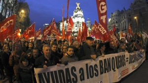 Union demonstration against cuts in savings bank sector