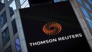 Das Thomson Reuters-Logo am Hauptsitz des Mutterunternehmens in New York.